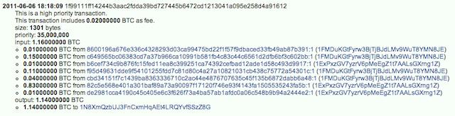 An anonymous Bitcoin transaction