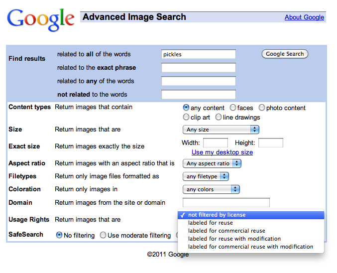 Google's advanced image search options