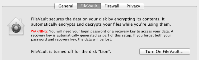 FileVault whole-disk encryption
