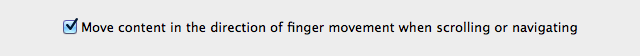 Scroll direction setting in the Mouse preference pane. Checked means the new Lion scrolling direction is in effect.