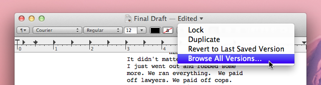 A menu in the title bar provides access to previous versions of a file