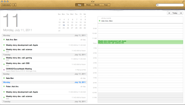 iCal day view. A handy list of upcoming events from the next few days is also included.