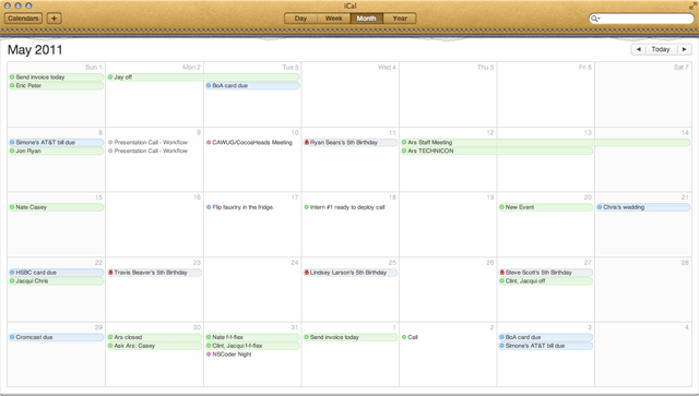 iCal month view.