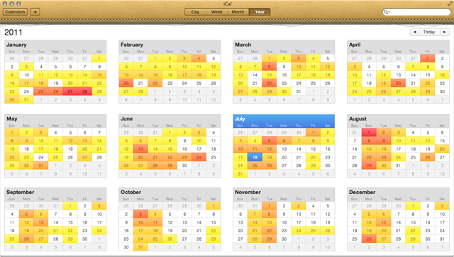 """iCal year view. Note the daily """"heat map."""""""