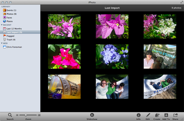 ...and iPhoto. Inexplicably, iPhoto still has full-color sidebar icons.