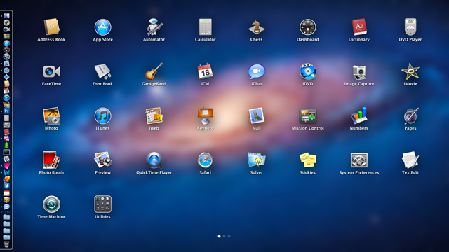Launchpad is an iOS-like launcher for Mac OS X.