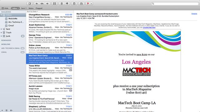 Mail running in fullscreen mode.