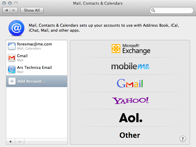 Easily enter your online accounts here to take care of syncing e-mail, contacts, and calendars.