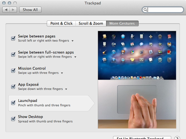 """Some of the """"other"""" gestures can be modified to suit your workflow."""