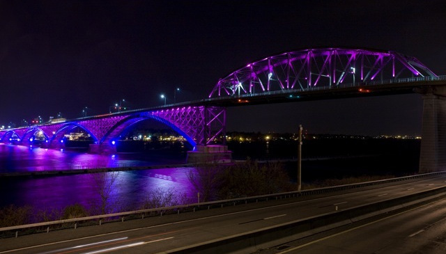 The Peace Bridge between Buffalo and Fort Erie uses some 700 RGB LED color-change lighting fixtures