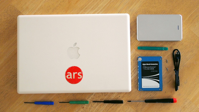 """Everything we need to swap an SSD into a MacBook, including the SSD, an external 2.5"""" enclosure, and some tiny screwdrivers."""