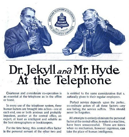 An early AT&T telephone etiquette advertisement.