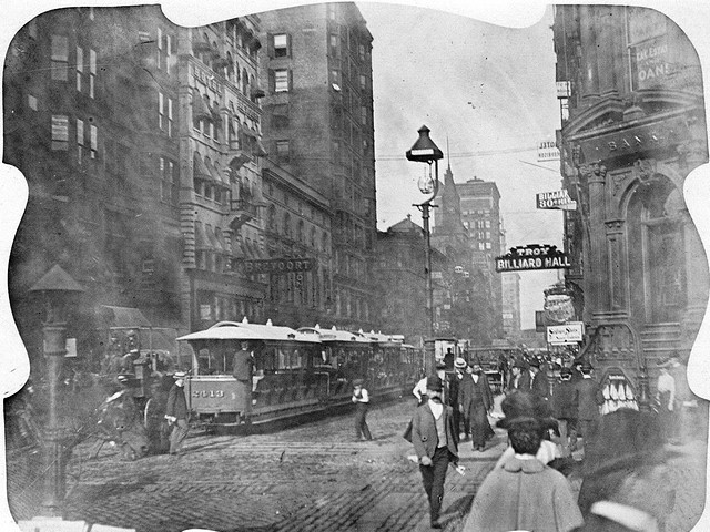 Chicago, ca 1900, at Madison Street between Clark and La Salle Streets.