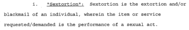 """The government defines """"sextortion"""""""