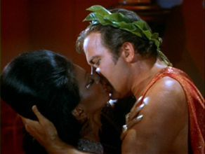 Kirk and Uhura in TV's first interracial kiss
