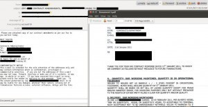 E-mail containing an attached contract layout terms for the sale of Middle East oil to an oil firm