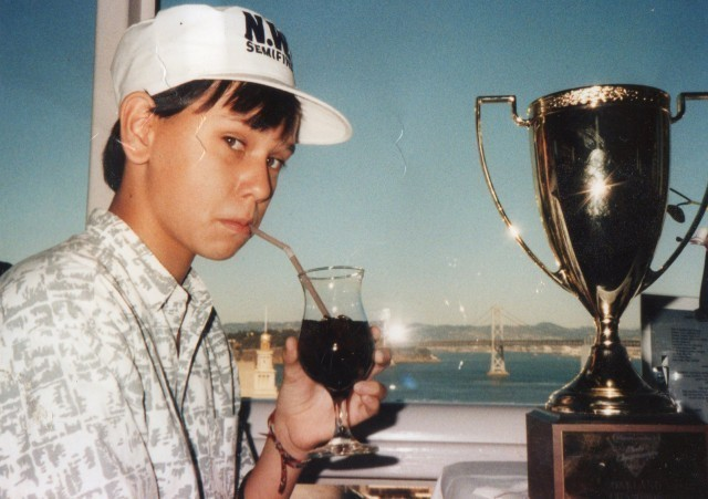 Robin Mihara, at 13, celebrates with a soda after his big win in the Nintendo World Championships in 1990