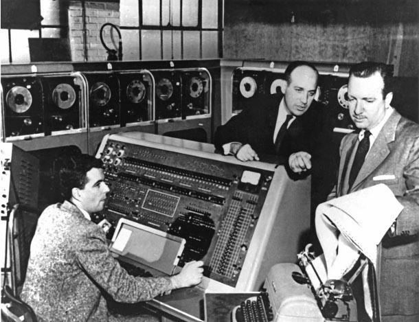 J. Presper Eckert and CBS's Walter Cronkite pondering the UNIVAC on election night, 1952.