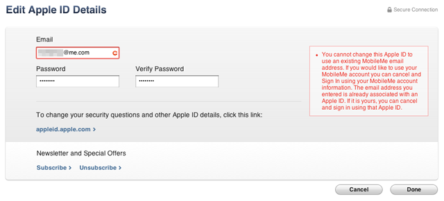 Don't try to use your MobileMe address with your current Apple ID—they are already separate accounts in Apple's database.