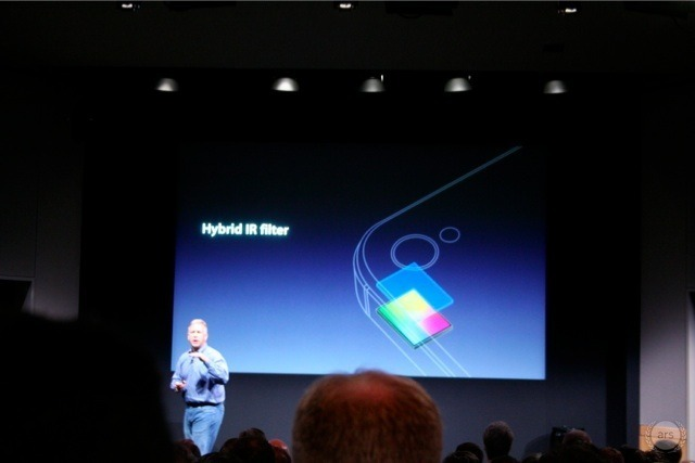 "Apple SVP of Worldwide Marketing Phil Schiller discussing the new ""hybrid IR filter"" in the iPhone 4S."