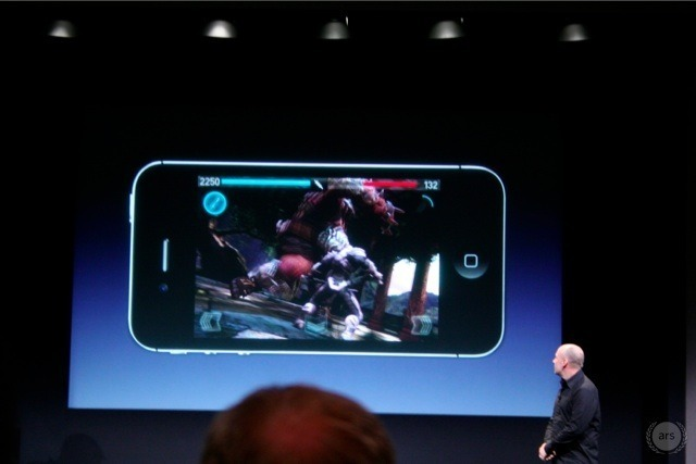 """Epic Games president Mike Capps shows of the """"eye-melting graphics"""" in <em>Infinity Blade 2</em> on the iPhone 4S."""