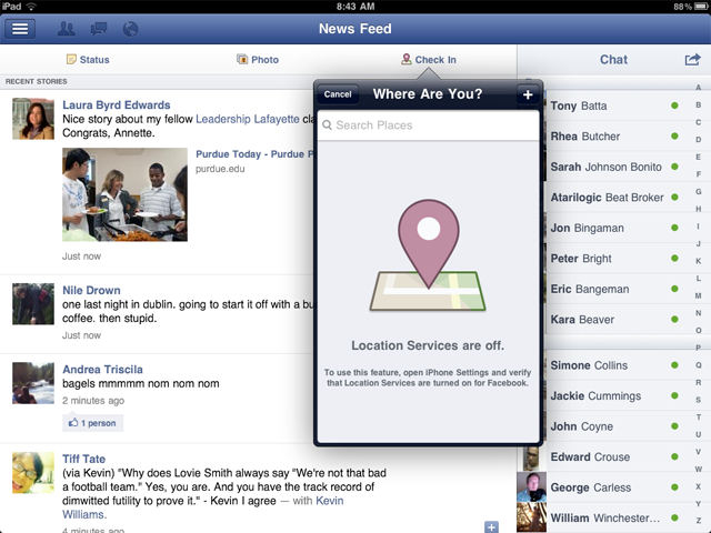 You can use Location Services to check in if that's your cup of tea.