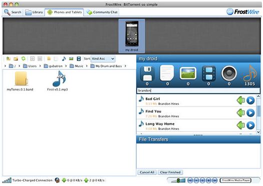 FrostWire's desktopAndroid integration