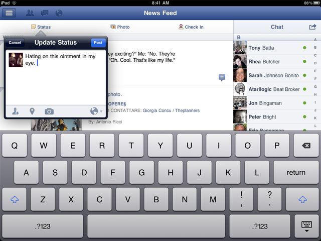 Quickly post a status update, complete with the updated privacy settings.