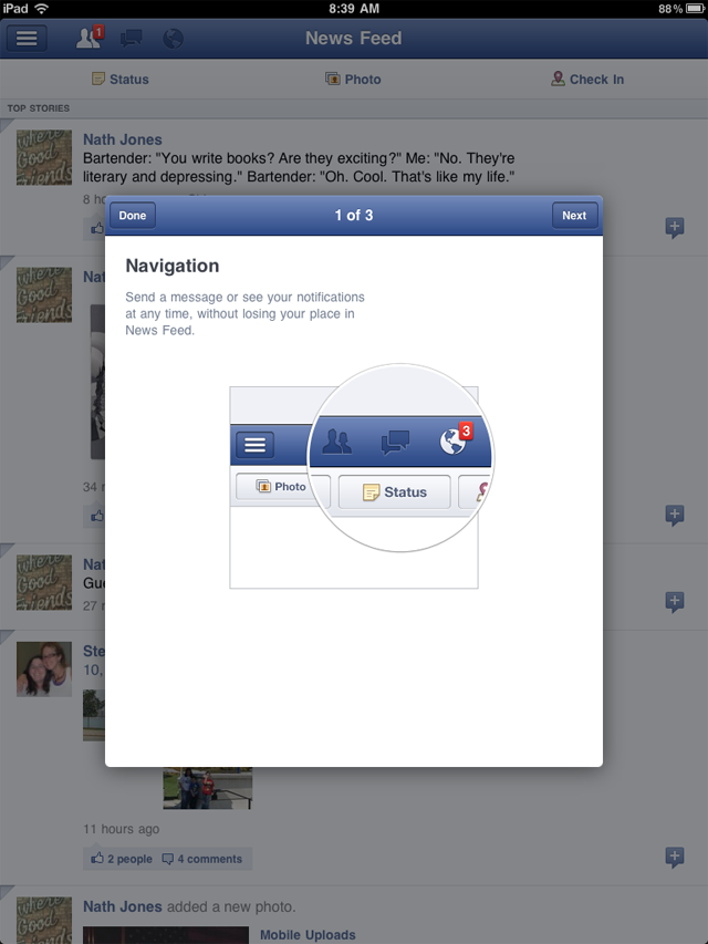 The new version of Facebook for iOS offers a quick visual tour that pops up over the main screen.