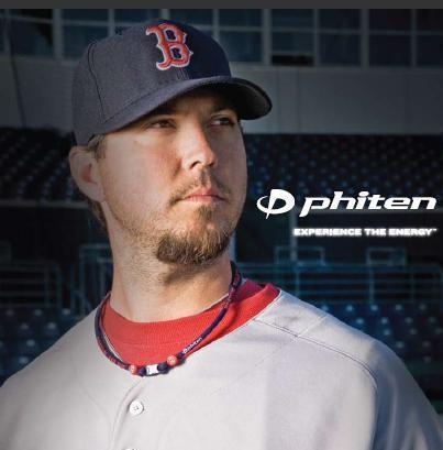 Boston Red Sox pitcher Josh Beckett endorses Phiten necklaces. The necklaces did not keep the Sox from choking during the pennant race, however.