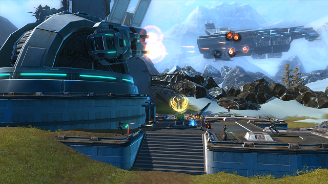 The Alderaan warzone, where teams fight for control of two laser cannons