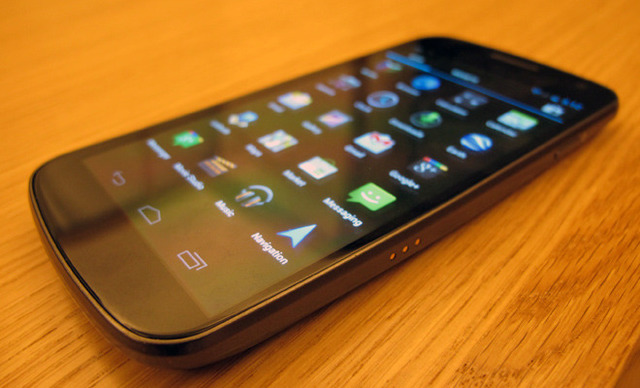 The Samsung Galaxy Nexus lacks the physical button bar of previous Android phones