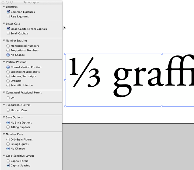 The ampersand pops open the OS X OpenType controls for fonts that support those features