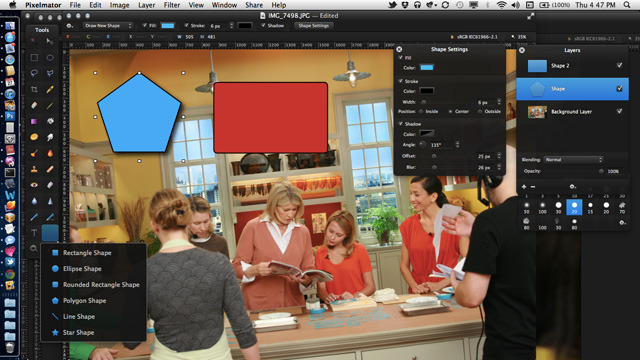 There are a variety of new vector shape tools available in Pixelmator 2.0.