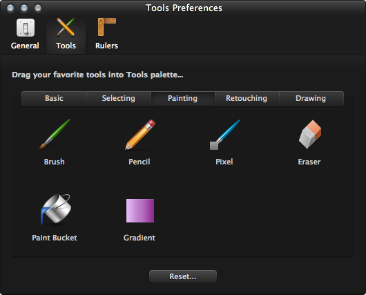 You can tweak your tool palette in Pixelmator 2.0, but flexibility seems lacking.
