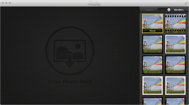 Analog's opening screen tells you to drop in an image to edit.