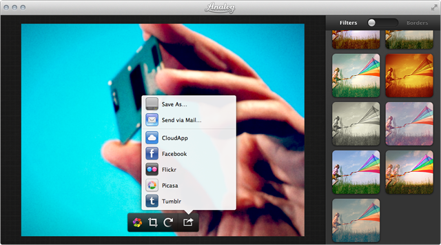 Analog can send your retro looking photo to Flickr, Picasa, Tumblr, and other online services.