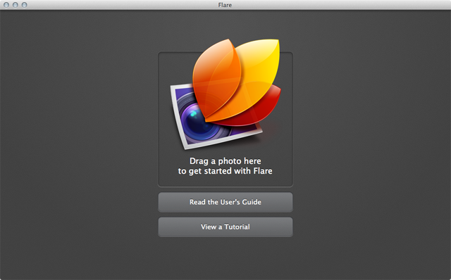 Flare presents a clean screen on launch. Like Analog, just drop in any image to get started.