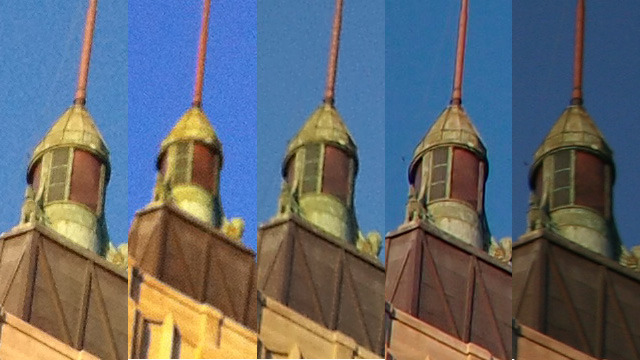 100 percent crop of building images. From left to right: iPhone 4S, iPhone 4, Samsung Galaxy SII, Olympus XZ-1, Canon 20D.