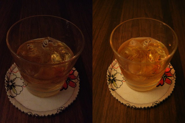 Left: iPhone 4S. Right: Canon 20D, 1/5 f/4.5 ISO1600.