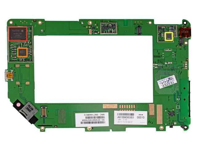 The Nook Tablet has a unique logic board that frames its 14.8Whr battery.