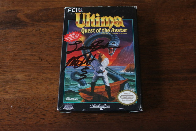 Lord British, a man who went into space, signed this copy of Ultima: Quest of the Avatar