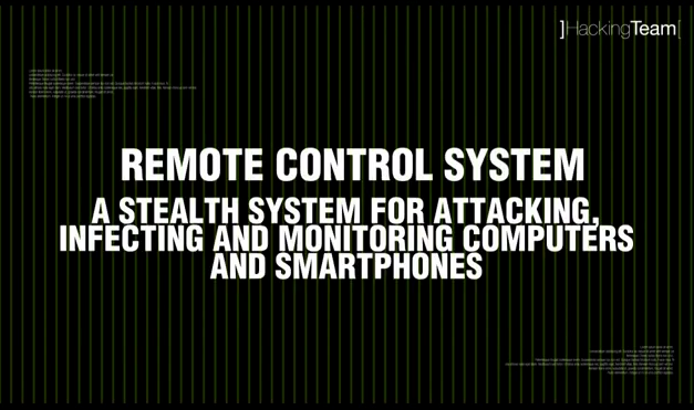 A slide from a HackingTeam video about the Remote Control System