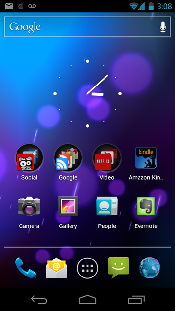 The Android 4 home screen