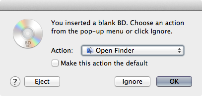 Burning a BD disc is as simple as dragging files in the Finder and clicking burn, just as you would do with a DVD-R or CD-R.