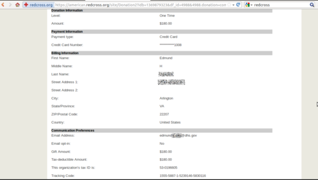 A fraudulent Red Cross donation screen captured by Anonymous