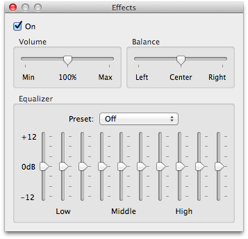 Any changes you make to the effects will be reflected in your streamed audio.