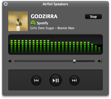 When you are receiving a stream via Airfoil Speakers, you even have a small level of control over the audio.