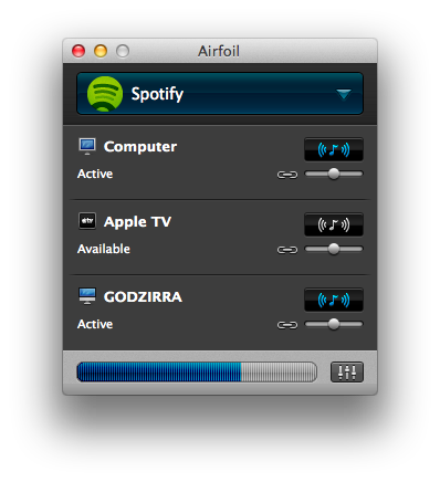 Airfoil lets you stream to multiple places at once. In this case, I'm playing audio to my laptop as well as my iMac.