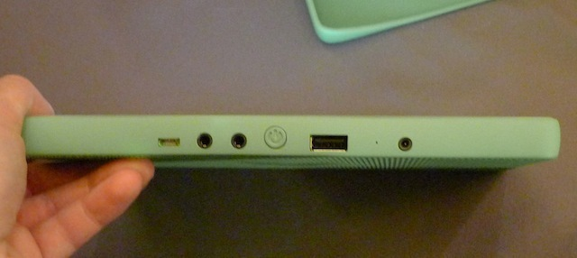 XO tablet ports: microUSB, audio in and out, USB, and a power port